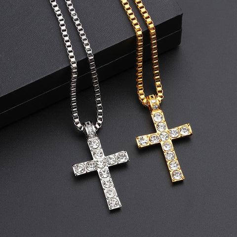 18k Gold Iced Out Cross