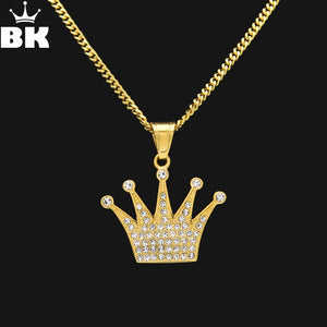 18k Gold Iced Out Crown Emoji Pendant