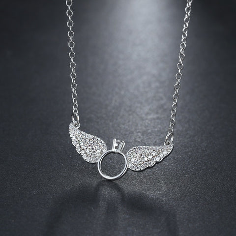 18k White Gold Iced Out Angel Wings