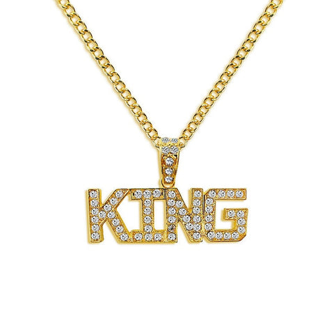 18k Gold Iced Out Pendant ( Available saying Queen too )