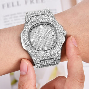 18k White Gold Iced Out Watch