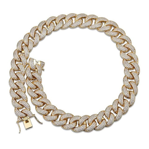 18k White Gold Iced Out Cuban Link ( 18inch - 22inch Long )