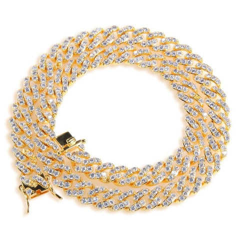 18k Gold Iced Out Cuban link ( 16inch - 20inch )