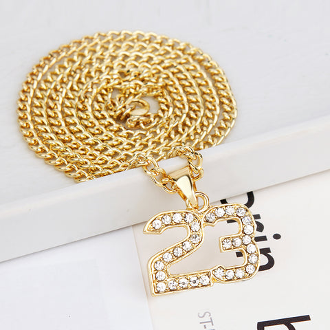 18k Gold Iced Out 23 Pendant