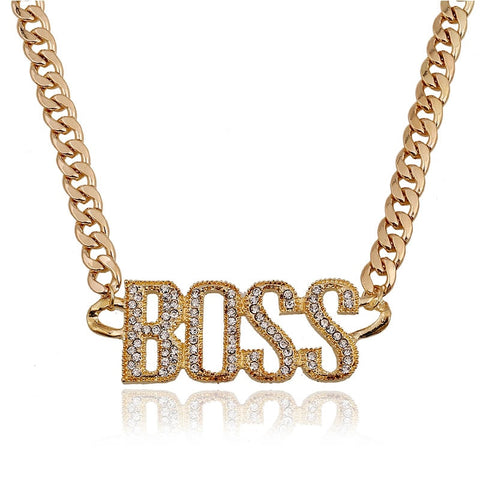 18k Gold Iced Out Boss Pendant
