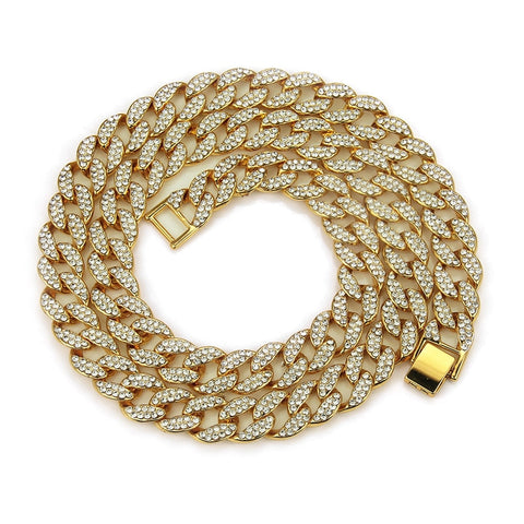 18k Gold Iced Out Miaimi Link Chain ( 8inch - 30inch )