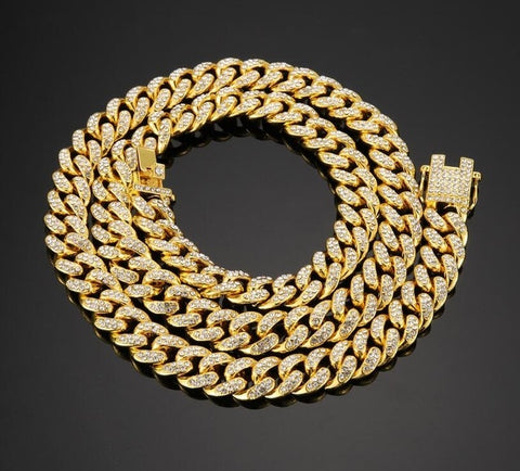 18k Gold Iced Out Miami Cuban Chain