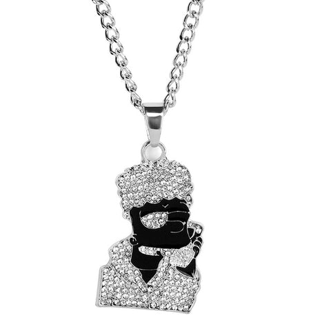 18k Gold Iced Out Hip-Hop Pendant