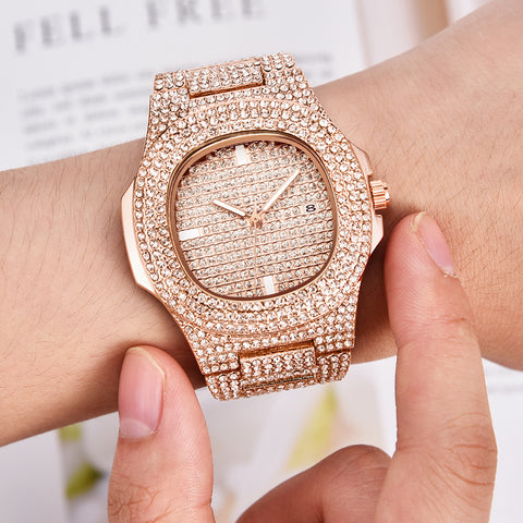 18k Rose Gold Iced Out Watch
