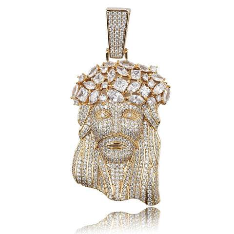 18k Gold Iced Out Pendant Also Available in Iced Out Platinum (18-30 Inches)