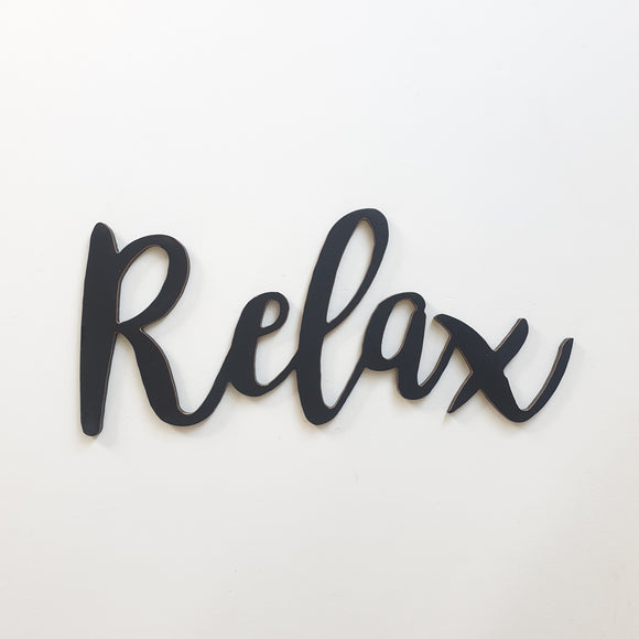 Relax wooden word wall art