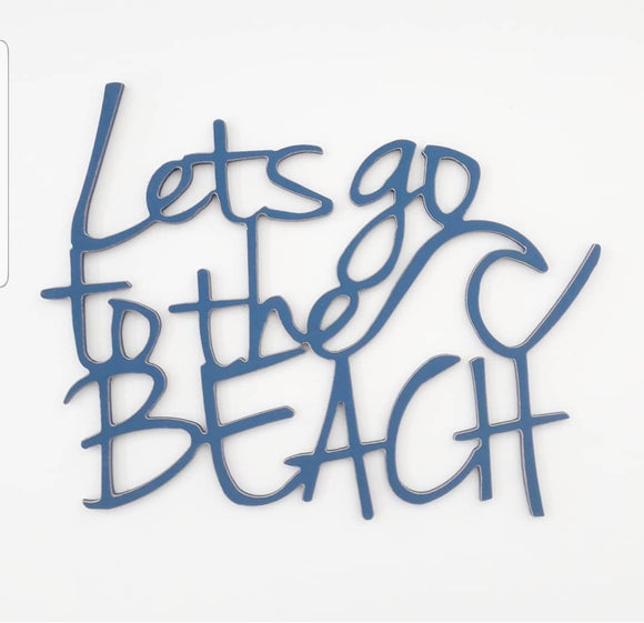Let's go to the beach - wooden words - wooden sign