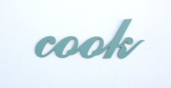 wooden words - wooden sign - cook sign