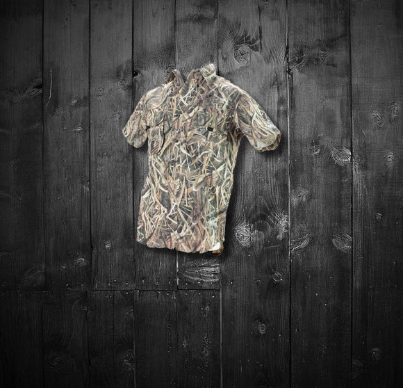 Featherweight Vented Back Short Sleeve Button Down -  Mossy Oak Shadow Grass Blades