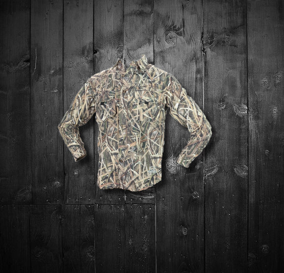 Featherweight Vented Back Long Sleeve Button Down Shirt -  Mossy Oak Shadow Grass Blades
