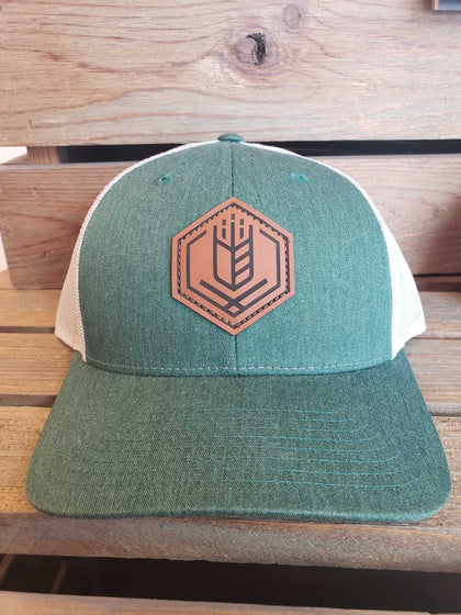 Leather Patch Trucker Hat - Green