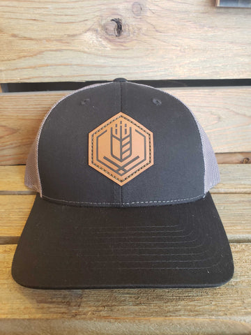 Leather Patch Trucker Hat - Black