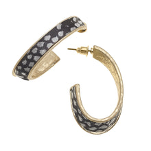 Load image into Gallery viewer, Mayra Hoop Earrings In Grey Python