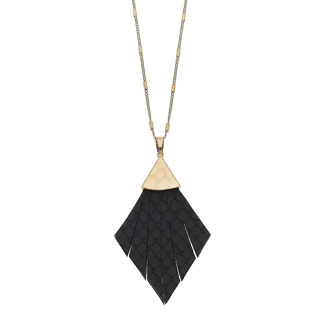 Helena Pendant Necklace In Black Leather