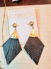 Load image into Gallery viewer, Helena Statement Earrings In Black Leather