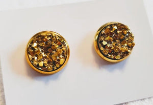 Gold on Gold Druzy Stud Earrings
