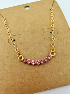 Simply Sparkly Curved Bar Necklace in Pink