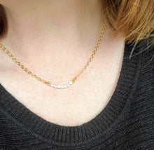 Load image into Gallery viewer, Simply Sparkly Curved Bar Necklace in Pink