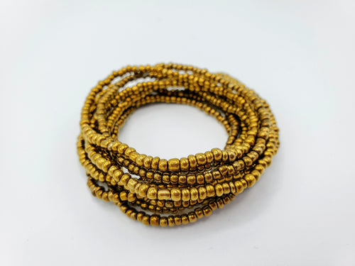 Seed Bead Stacking Bracelets - Gold