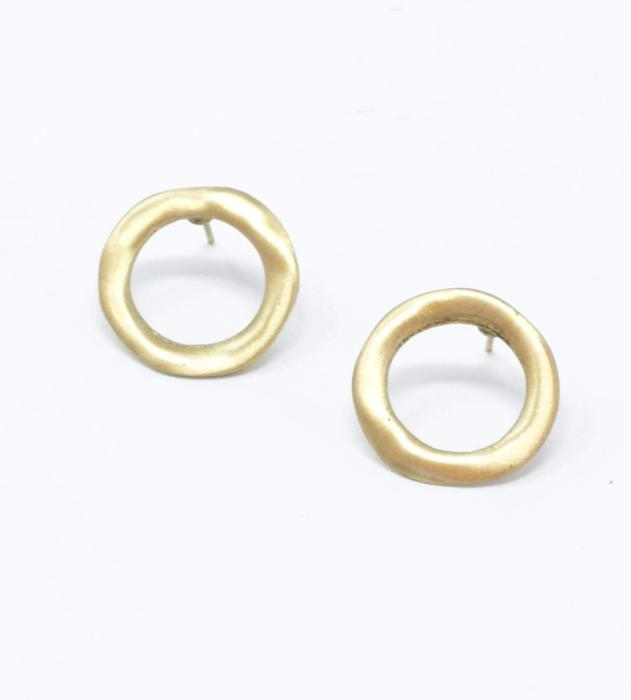Imperfect Circle Stud Earrings - Gold