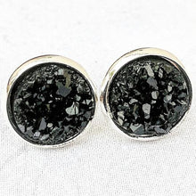 Load image into Gallery viewer, Black On Silver - Druzy Stud Earrings