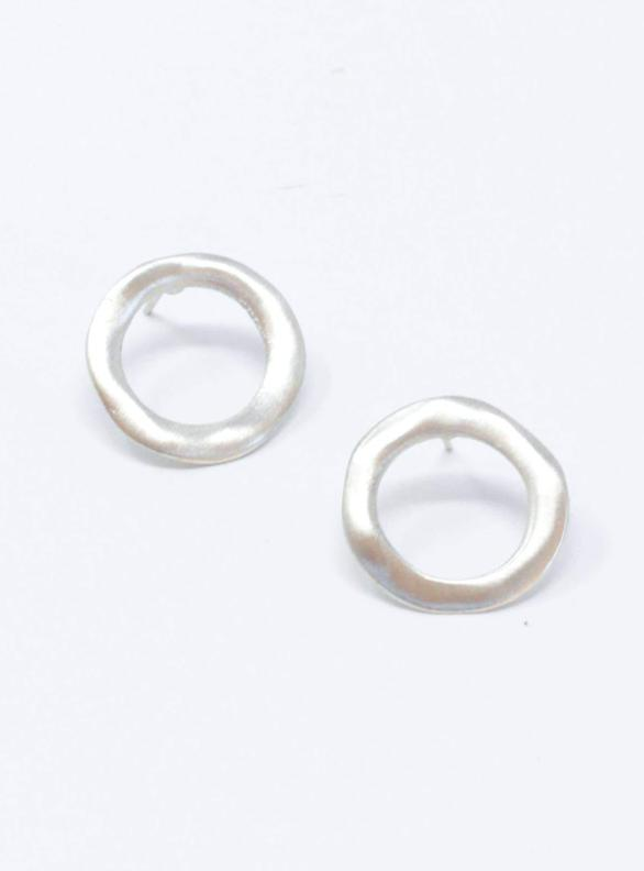 Imperfect Circle Stud Earrings - Silver