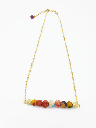 Kantha Horizontal Bar Necklace
