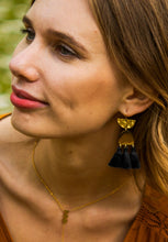 Load image into Gallery viewer, Amelia Midnight Tassel Earrings