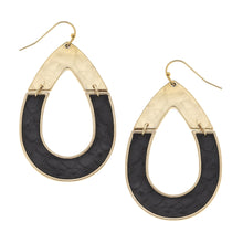 Load image into Gallery viewer, Harlow Teardrop Earrings In Black Leather