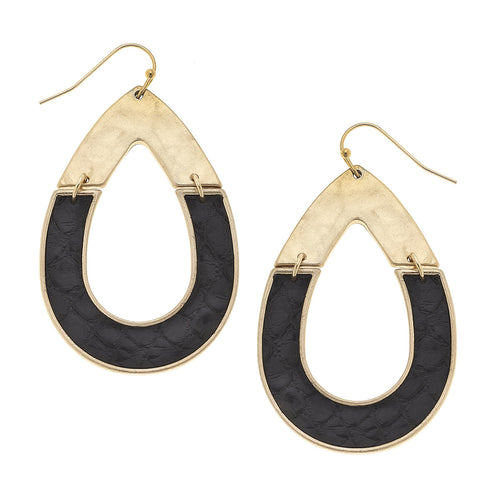 Harlow Teardrop Earrings In Black Leather