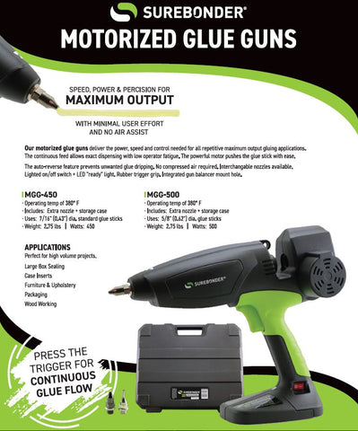 Surebonder Motorized Glue Guns MGG 450 MGG 500