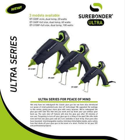 Surebonder Ultra Series Automatic Shut Off Hot Melt Glue Guns