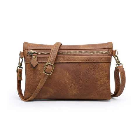 Kelly Zip Crossbody Wristlet Brown