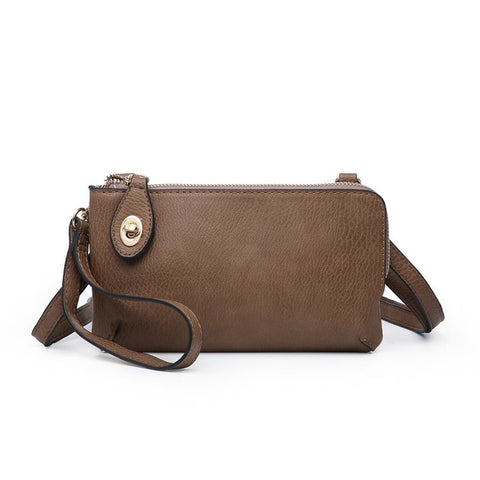 Kendall Twist Lock Wristlet Crossbody Chestnut
