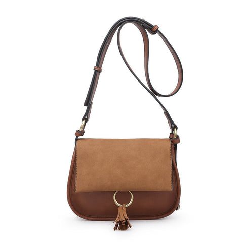 Luna Two Tone Suede Crossbody Brown