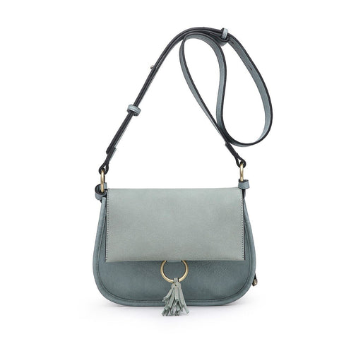 Luna Two Tone Suede Crossbody Teal