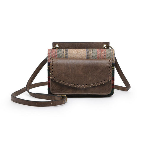 Evelyn Crossbody Wallet with Whipstitch Detail Coffee Plaid