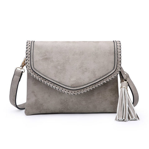 Sloane Whipstitch Envelope Crossbody Gray