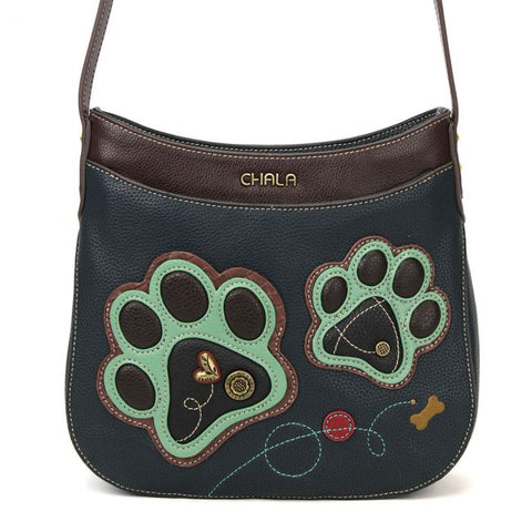 Teal Paw Print Crescent Crossbody