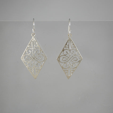 Diamond Shape Cut Scroll Earrings