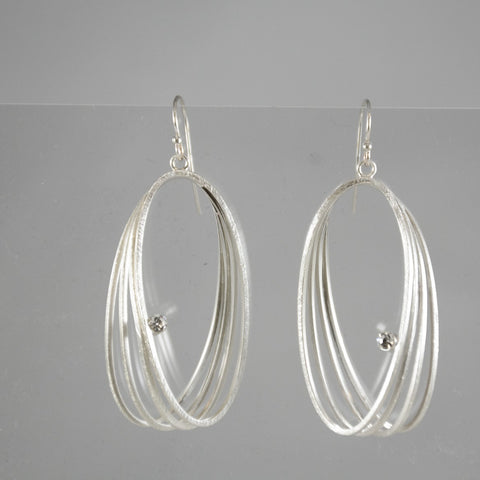 Triple Fixed Hoop With Crystal Earrings