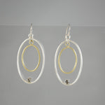 Two Tone Ovals With Crystals Earrings