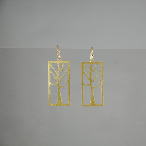 Gold Rectangle Tree Earrings