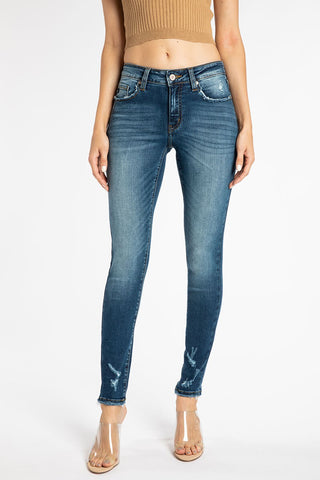 Mid Rise Hem Detail Super Skinny Jeans - Kan Can