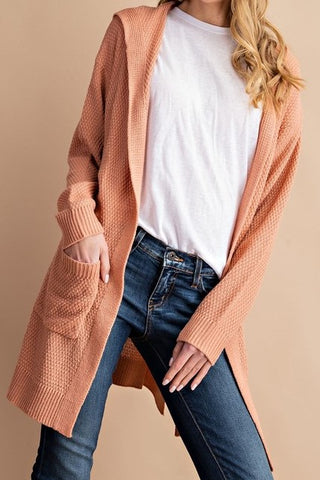 Waffle Knit Open Front Hooded Cardigan